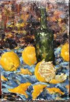 Four yellow oranges surrounding a green wine bottle. Blue table cloth and brown, yellow and blue background brush strokes.