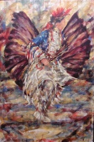 A painting of an Native American dancer decorated in full feathers and traditional outfit in burgundy, blue, red and white.