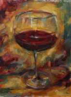A simple glass of red wine with a maroon and tan hue background.