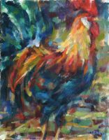 Majestic blue rooster strutting with colors of green red and yellow.