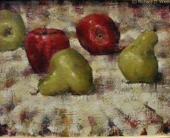 Two red apples and three green pears