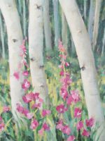 White aspen tree trunks with pink hollyhocks and yellow growing