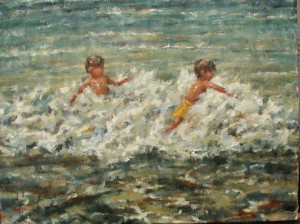 "Surf Jumpers 18""x24"" Oil"