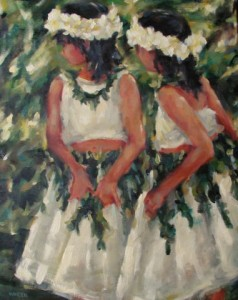 "Hula Girls 20""x16"" Oil"