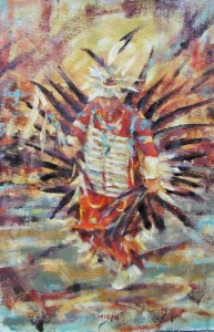 "Pow Wow Dancer 14""x11"" Oil"