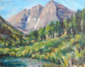 Maroon Bells in Summer 11x14 oil