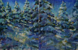 Snow Diptych 14x22 oil